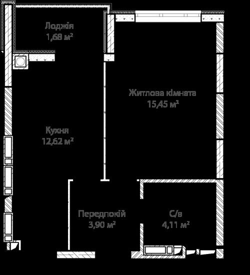 1-кімнатна 37.76м² номер - 28 зображення з ЖК Синергія Сіті