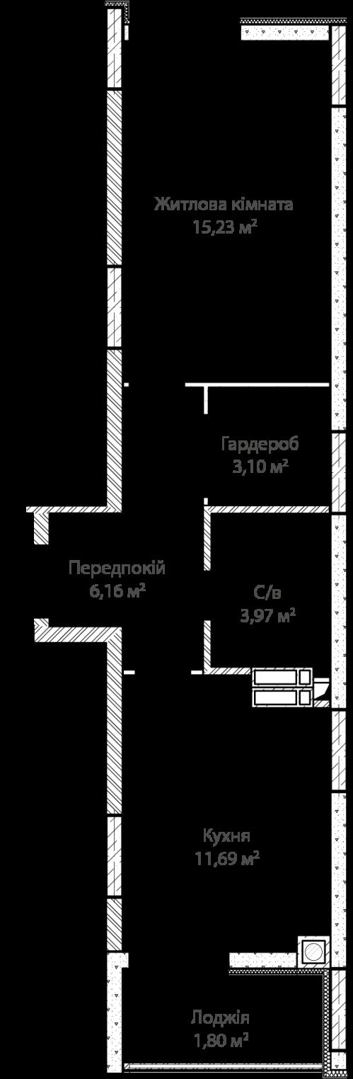 1-кімнатна 41.45м² номер - 7 зображення з ЖК Синергія Сіті