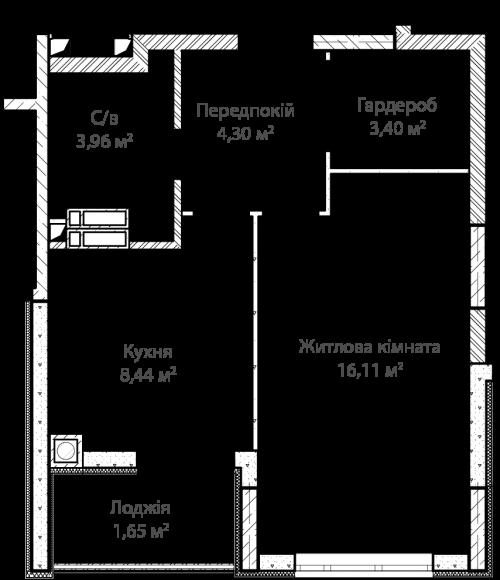 1-кімнатна 37.86м² номер - 8 зображення з ЖК Синергія Сіті