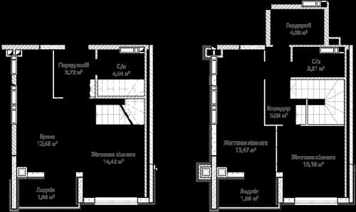 3-кімнатна 74.35м² номер - 57 зображення з ЖК Синергія Сіті