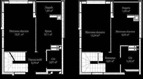 3-кімнатна 72.49м² номер - 64 зображення з ЖК Синергія Сіті