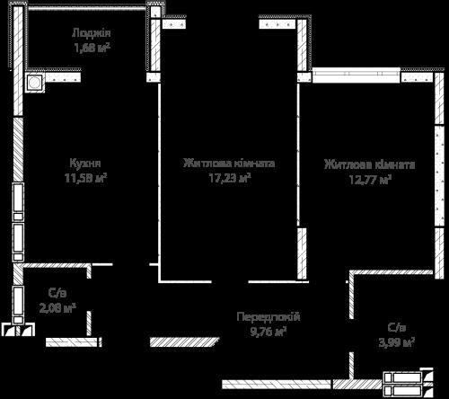 2-кімнатна 59.01м² номер - 58 зображення з ЖК Синергія Сіті