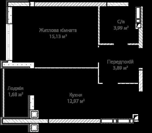 1-кімнатна 37.66м² номер - 4 зображення з ЖК Синергія Сіті
