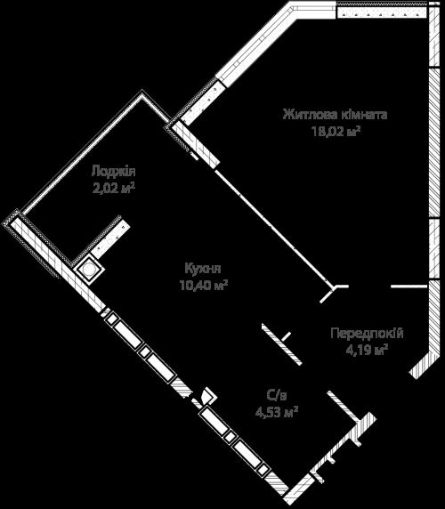 1-кімнатна 39.16м² номер - 51 зображення з ЖК Синергія Сіті