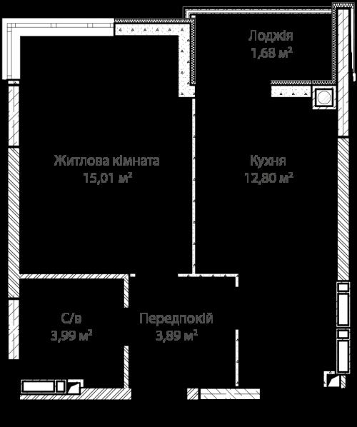 1-кімнатна 37.37м² номер - 7 зображення з ЖК Синергія Сіті