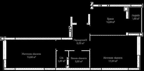 2-кімнатна 57.81м² номер - 56 зображення з ЖК Синергія Сіті