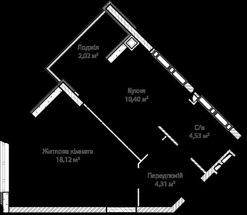 1-кімнатна 39.38м² номер - 14 зображення з ЖК Синергія Сіті