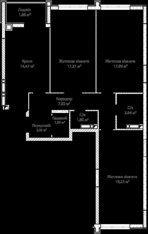3-кімнатна 88.30м² номер - 35 зображення з ЖК Синергія Сіті