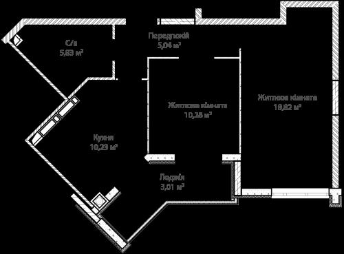 2-кімнатна 53.21м² номер - 9 зображення з ЖК Синергія Сіті