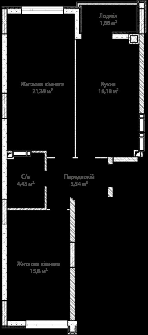 2-кімнатна 64.92м² номер - 2 зображення з ЖК Синергія Сіті