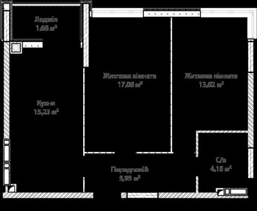 1-кімнатна 57.72м² номер - 12 зображення з ЖК Синергія Сіті