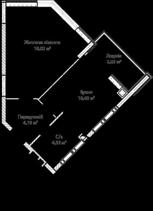 1-кімнатна 39.16м² номер - 13 зображення з ЖК Синергія Сіті