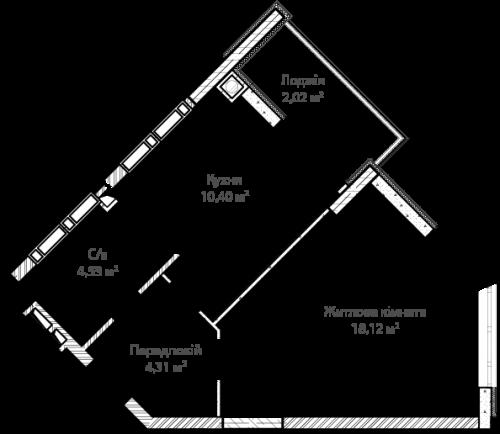 1-кімнатна 39.38м² номер - 5 зображення з ЖК Синергія Сіті