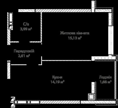 1-кімнатна 37.60м² номер - 6 зображення з ЖК Синергія Сіті