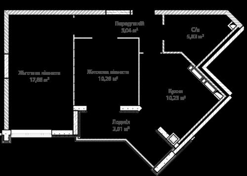 1-кімнатна 52.27м² номер - 1 зображення з ЖК Синергія Сіті