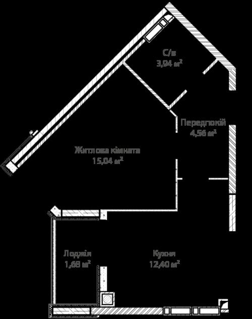 1-кімнатна 37.62м² номер - 9 зображення з ЖК Синергія Сіті