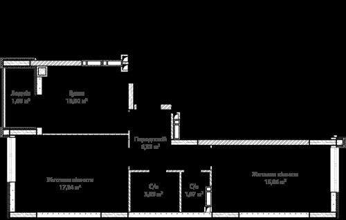 2-кімнатна 64.92м² номер - 56 зображення з ЖК Синергія Сіті