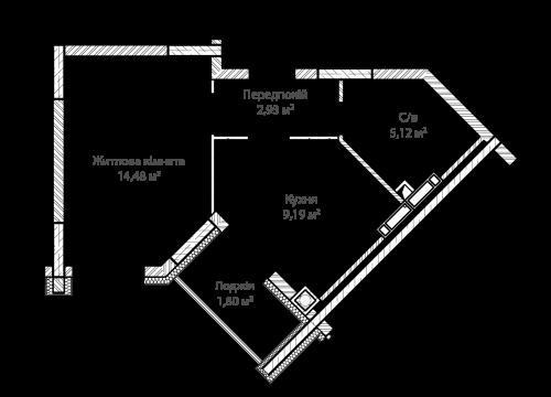 1-кімнатна 33.32м² номер - 50 зображення з ЖК Синергія Сіті