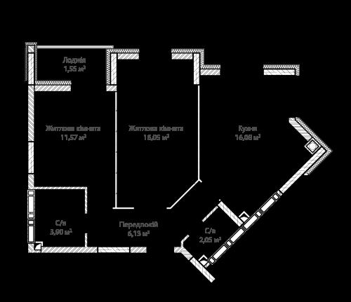 2-кімнатна 57.33м² номер - 10 зображення з ЖК Синергія Сіті