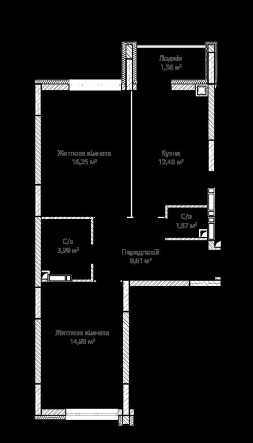 2-кімнатна 59.31м² номер - 16 зображення з ЖК Синергія Сіті