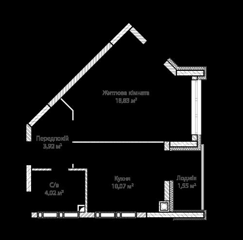 1-кімнатна 38.39м² номер - 40 зображення з ЖК Синергія Сіті