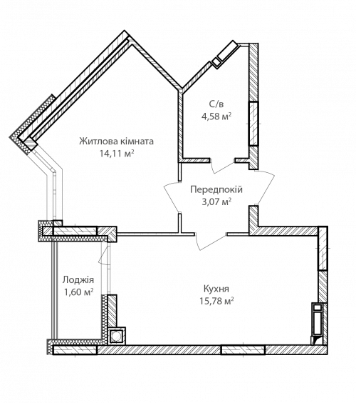 1-кімнатна 39.14м² номер - 35 зображення з ЖК Синергія Сіті