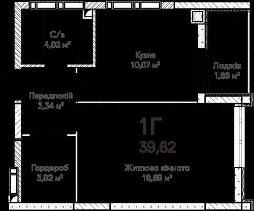 1-кімнатна 39.49м² номер - 13 зображення з ЖК Синергія Сіті