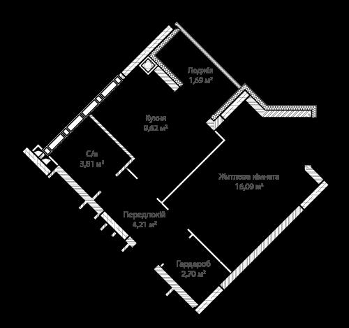 1-кімнатна 38.12м² номер - 4 зображення з ЖК Синергія Сіті
