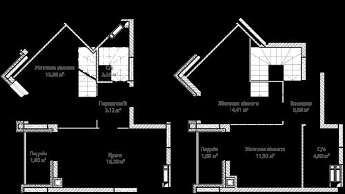 3-кімнатна 75.70м² номер - 56 зображення з ЖК Синергія Сіті