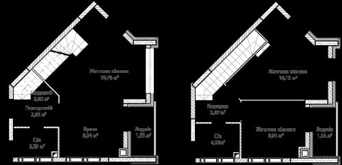1-кімнатна 73.59м² номер - 54 зображення з ЖК Синергія Сіті